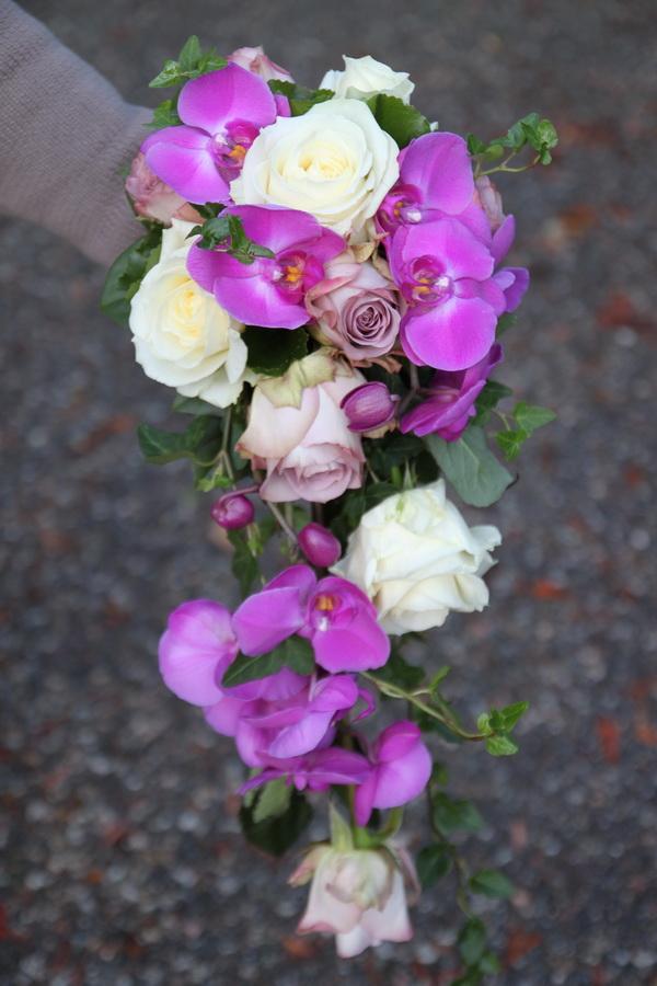 adedc0a45125 Droppformad brudbukett med lila rosor, vita rosor, phalaenopsis orkide och  grönt